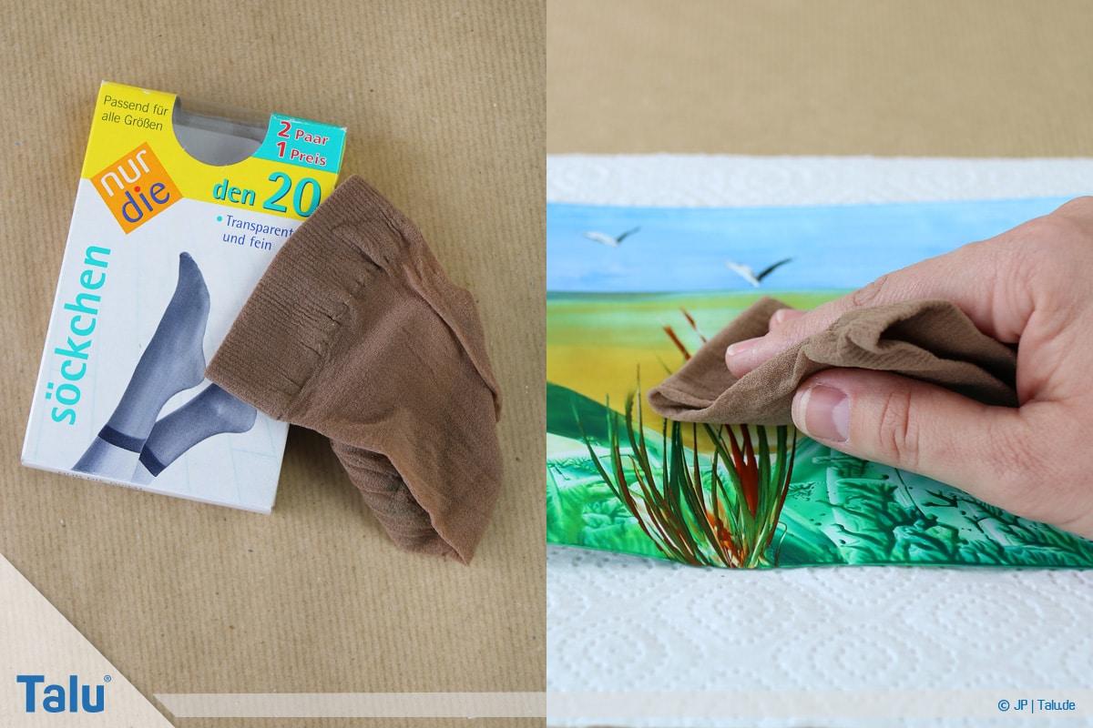 Enkaustik, Anleitung Wachs-Malerei, Wachsbild mit Seidenstrumpf polieren
