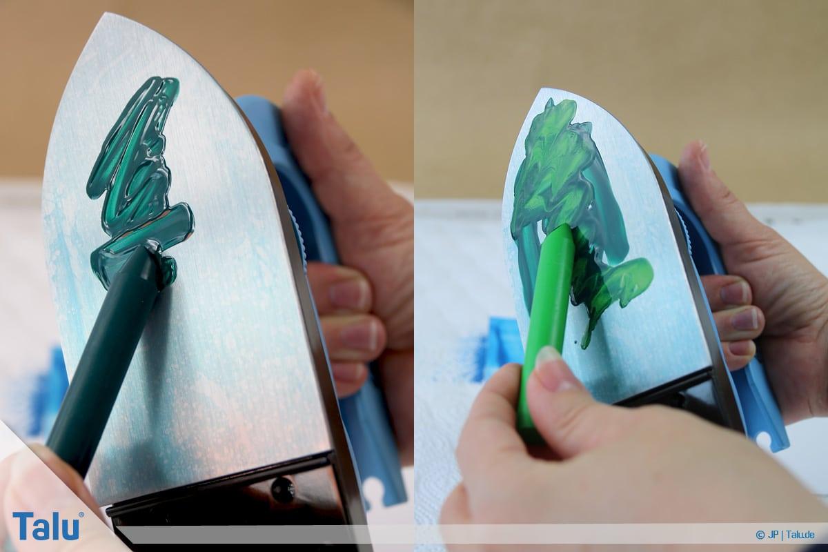 Enkaustik, Anleitung Wachs-Malerei, buntes Wachs auf Maleisen-Sohle aufbringen