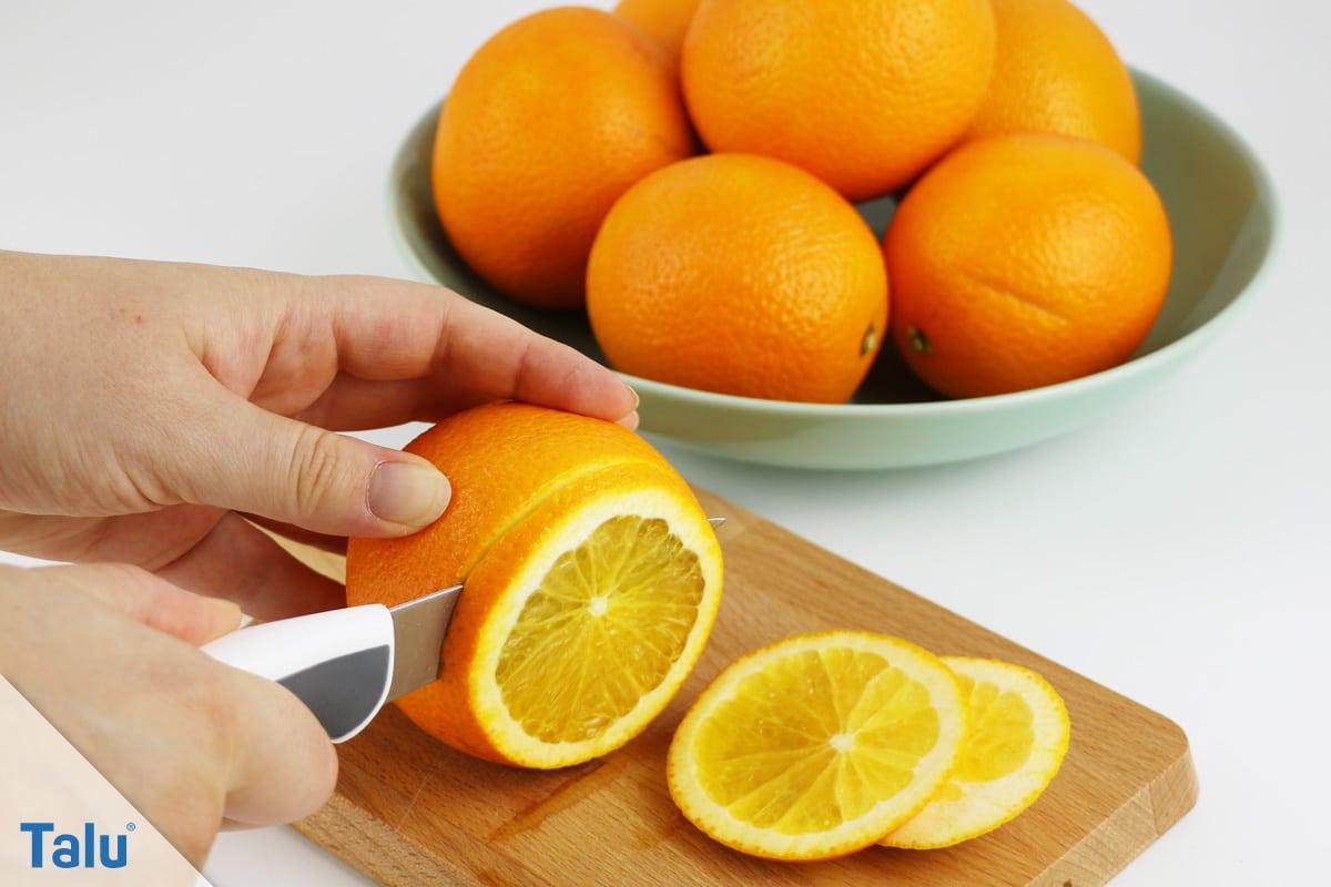 Orangenscheiben trocknen