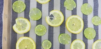 Zitronen- und Limettenscheiben trocknen