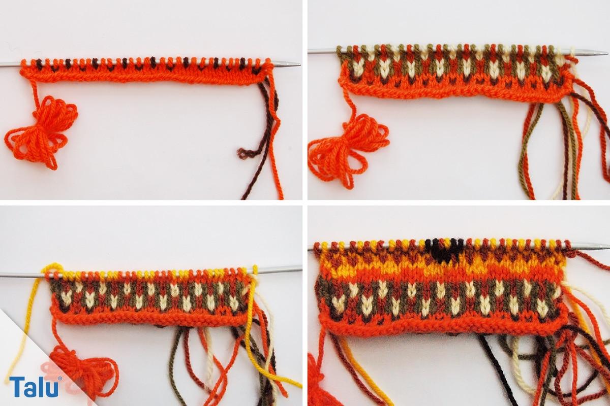 Ethno Muster stricken, nach 12 Reihen