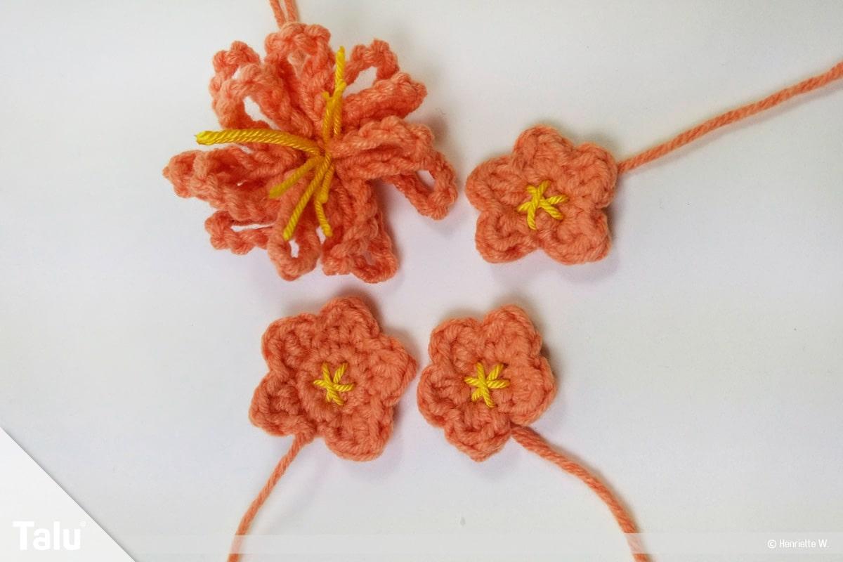 Kaktus häkeln - Hoher Kaktus, Blüten häkeln