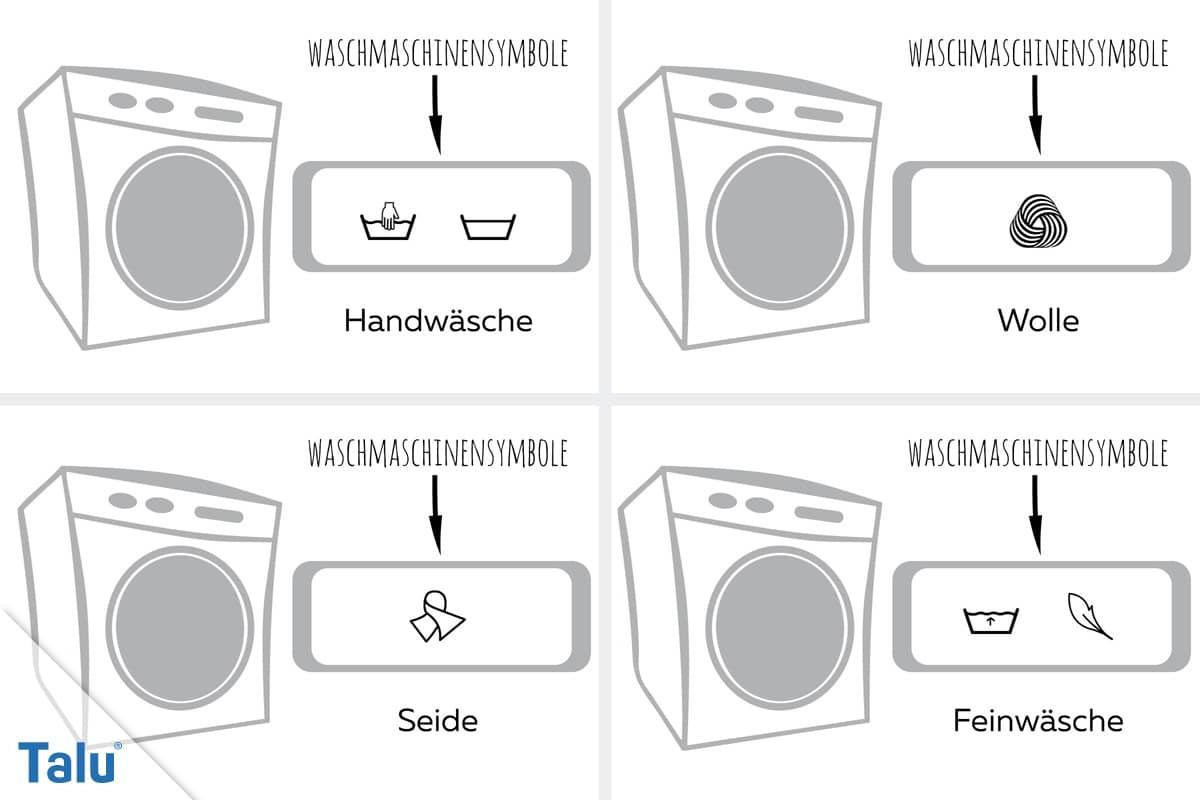 Symbole an der Waschmaschine, Handwäsche bis Feinwäsche