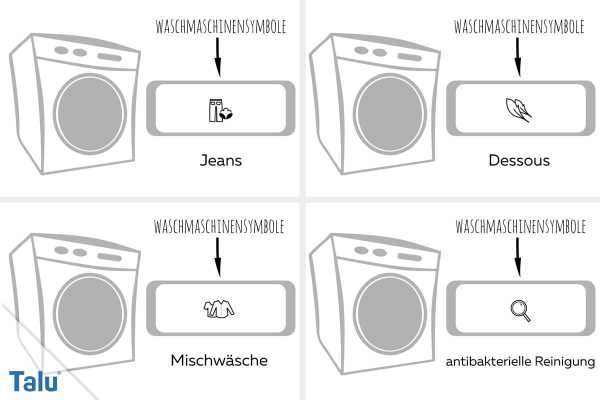 Symbole an der Waschmaschine, Jeans bis antibakterielle Reinigung