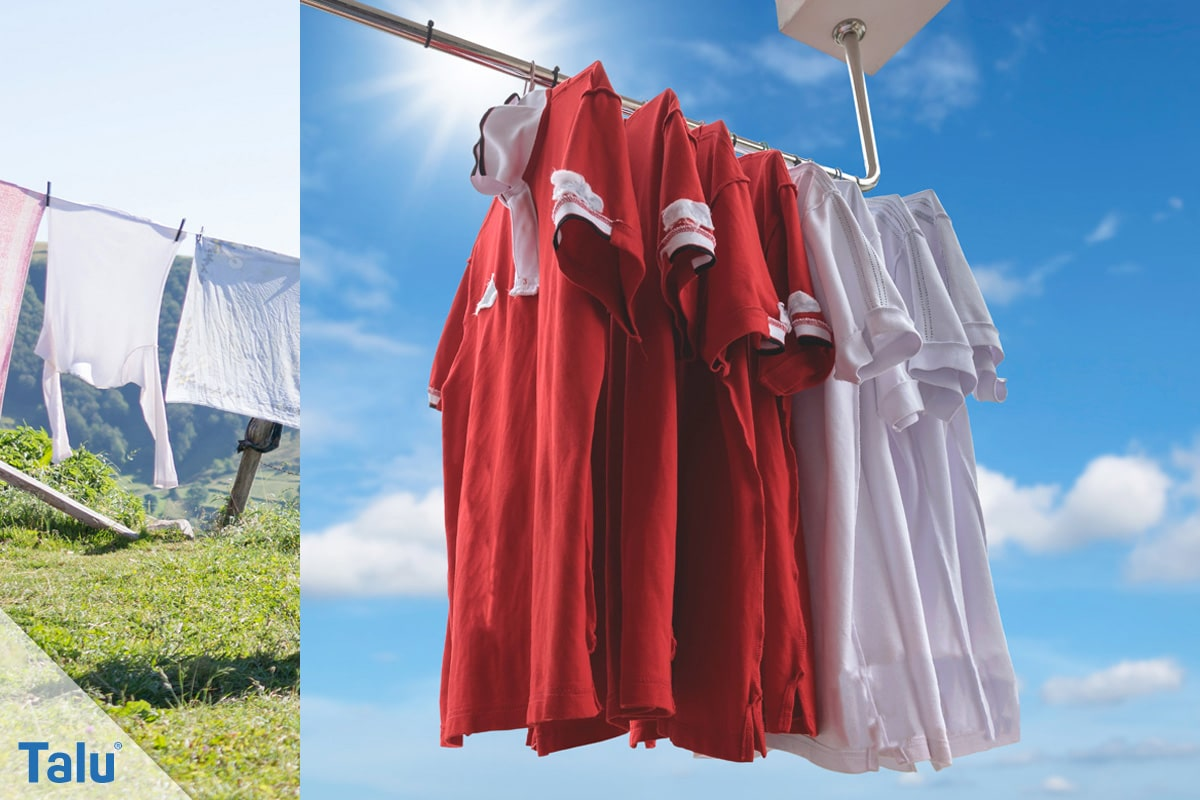 Weiße Wäsche wieder weiß bekommen, Wäsche in der Sonne trocknen
