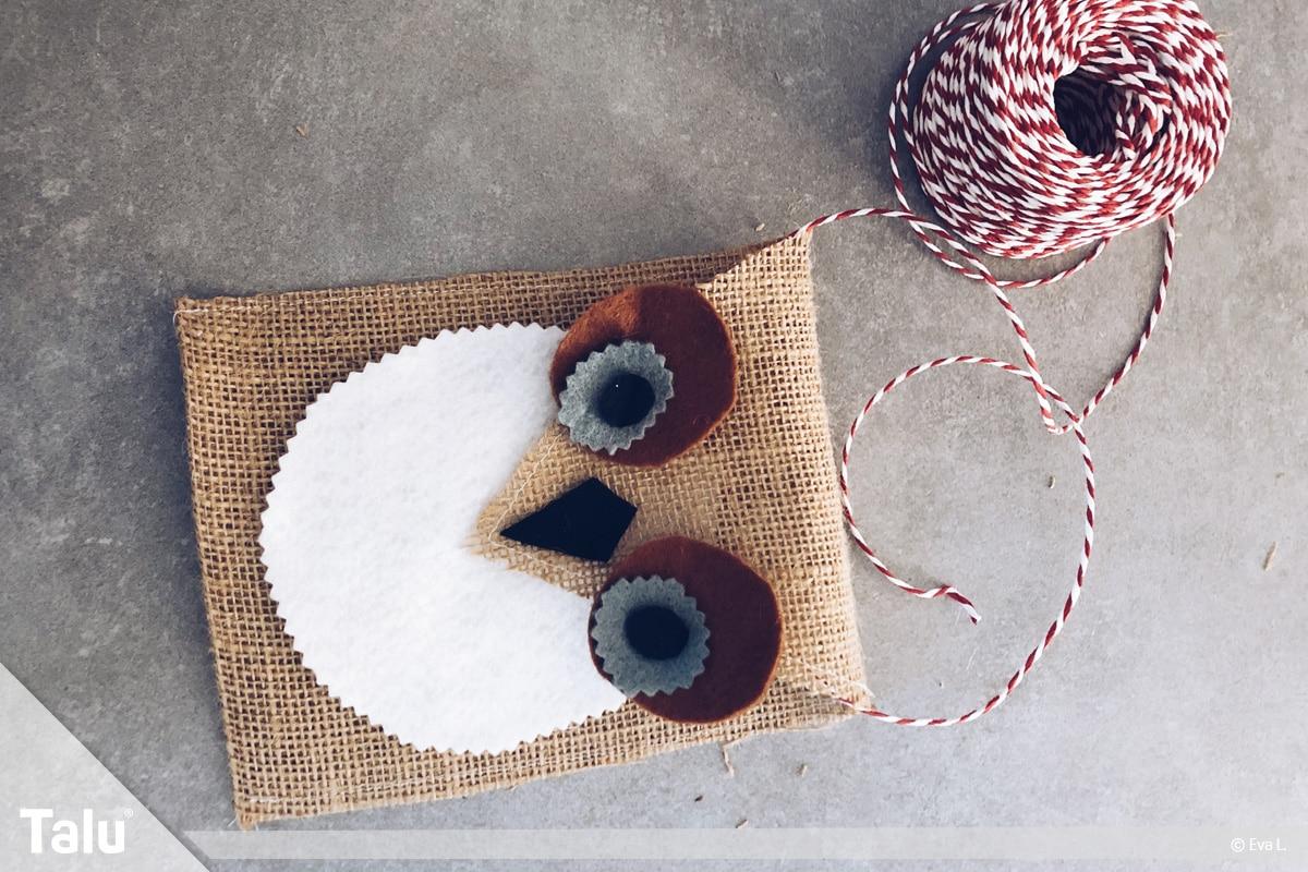 Adventskalender für Kinder, Eulen-Säckchen mit Schnur versehen
