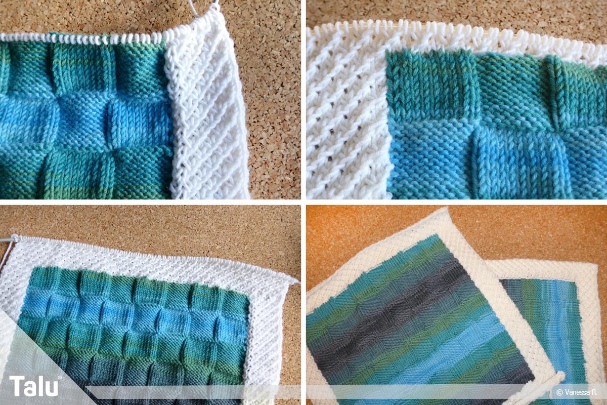 Kissenhülle stricken, Kissenvorder- und Rückseite