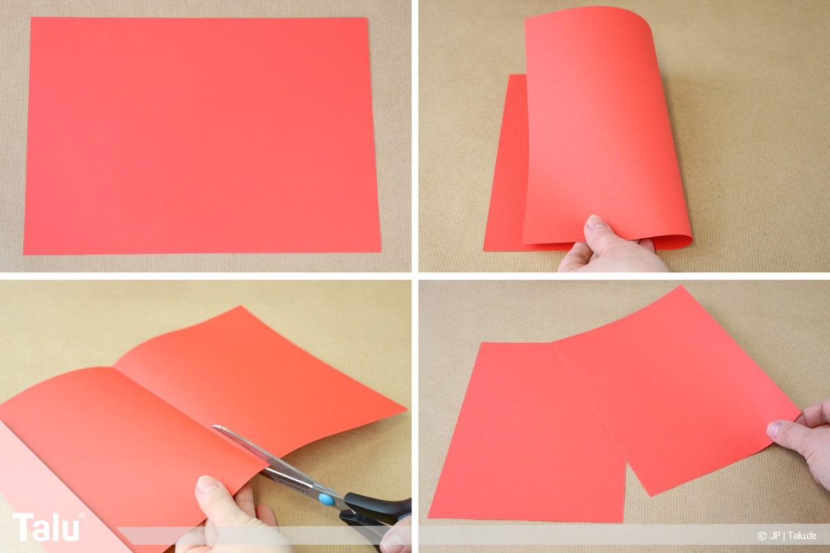 Papierengel basteln, Variante 1, Papierformat zurechtschneiden