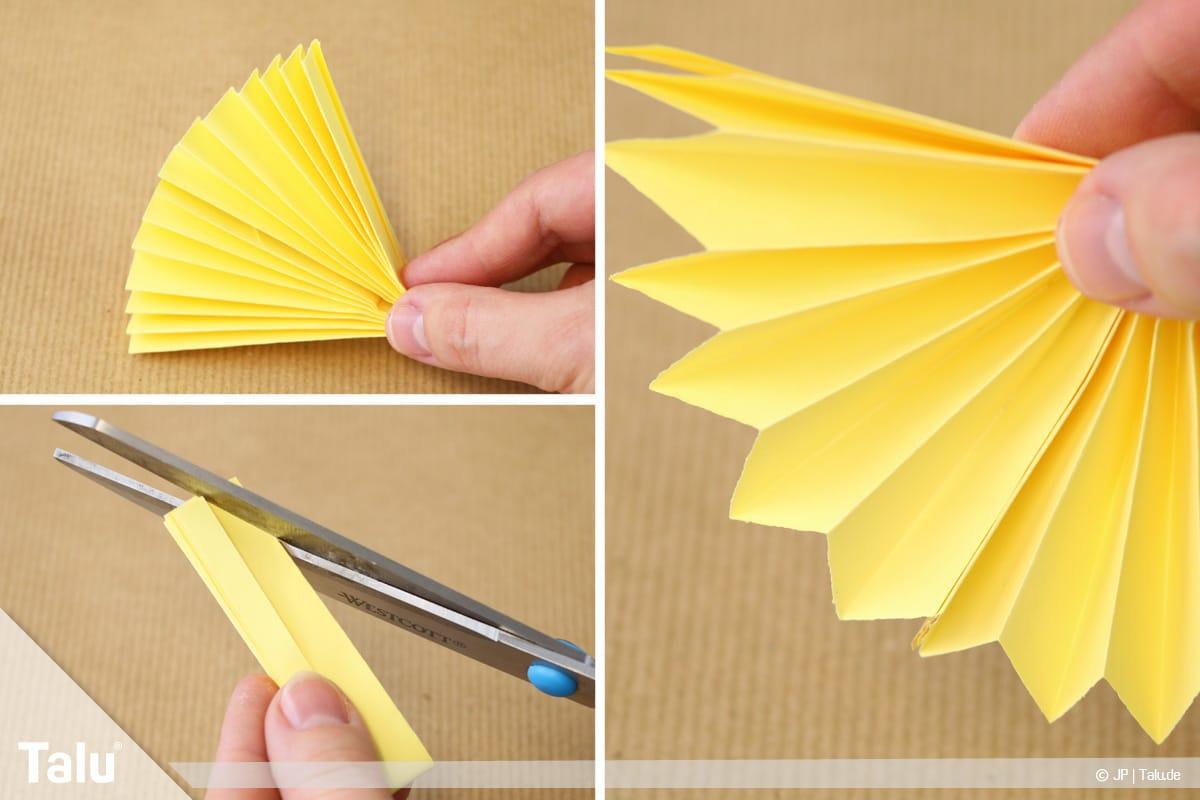 Papierengel basteln, Variante 2, gelben Fächer mit schrägen Kanten versehen
