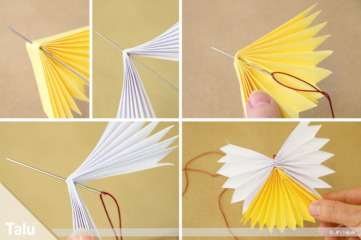 Papierengel basteln, Variante 2, Fächerstücke auf Nadel und Faden auffädeln
