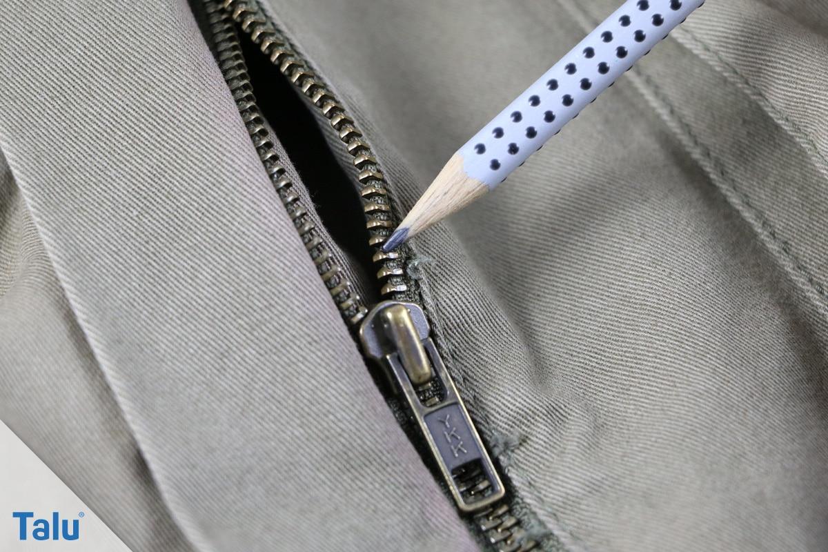 Reißverschluss-Zipper klemmt, Bleistift nutzen