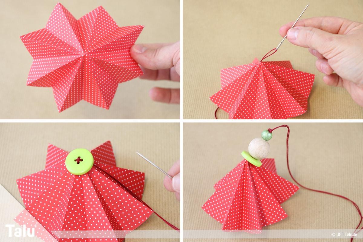 Weihnachtsengel basteln, Variante 2, Anbringen des Kopfes durch eine Holzkugel