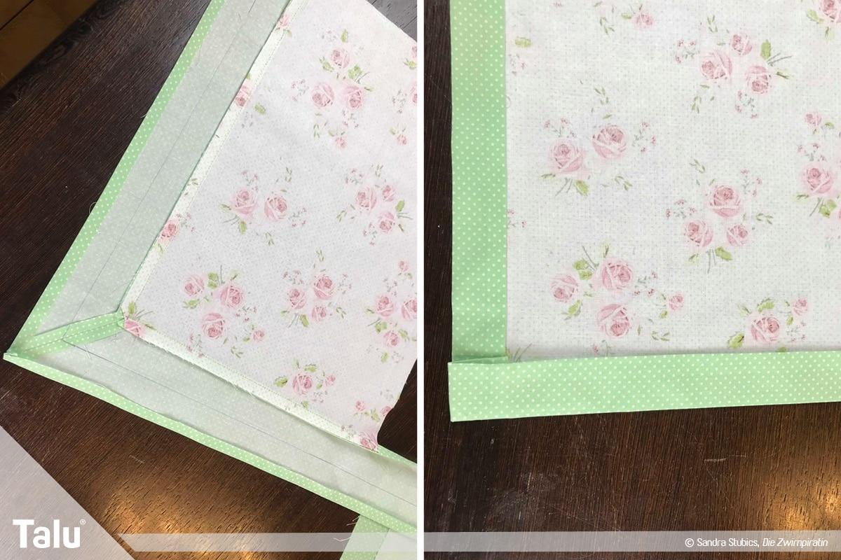 Tischdecke nähen mit Rand, Umschlagkanten einbügeln