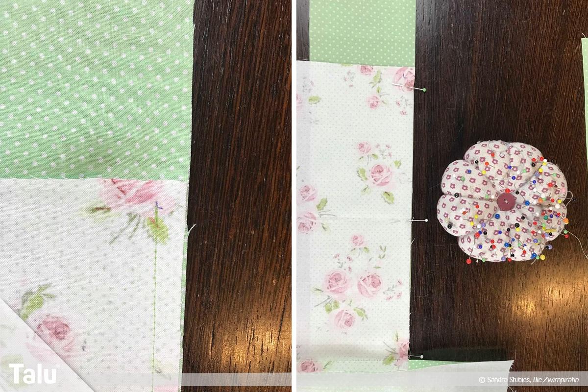 Tischdecke nähen mit Rand, Stoffe zusammennähen
