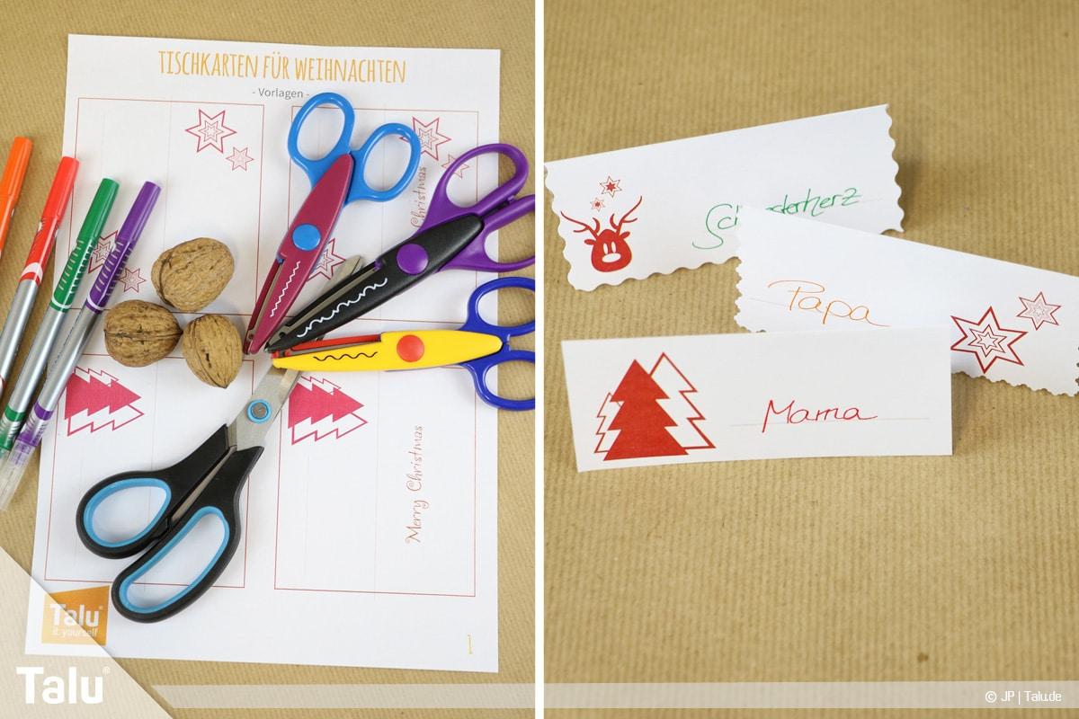Tischkarten für Weihnachten ausdrucken und beschriften, Vorlagen ausdrucken