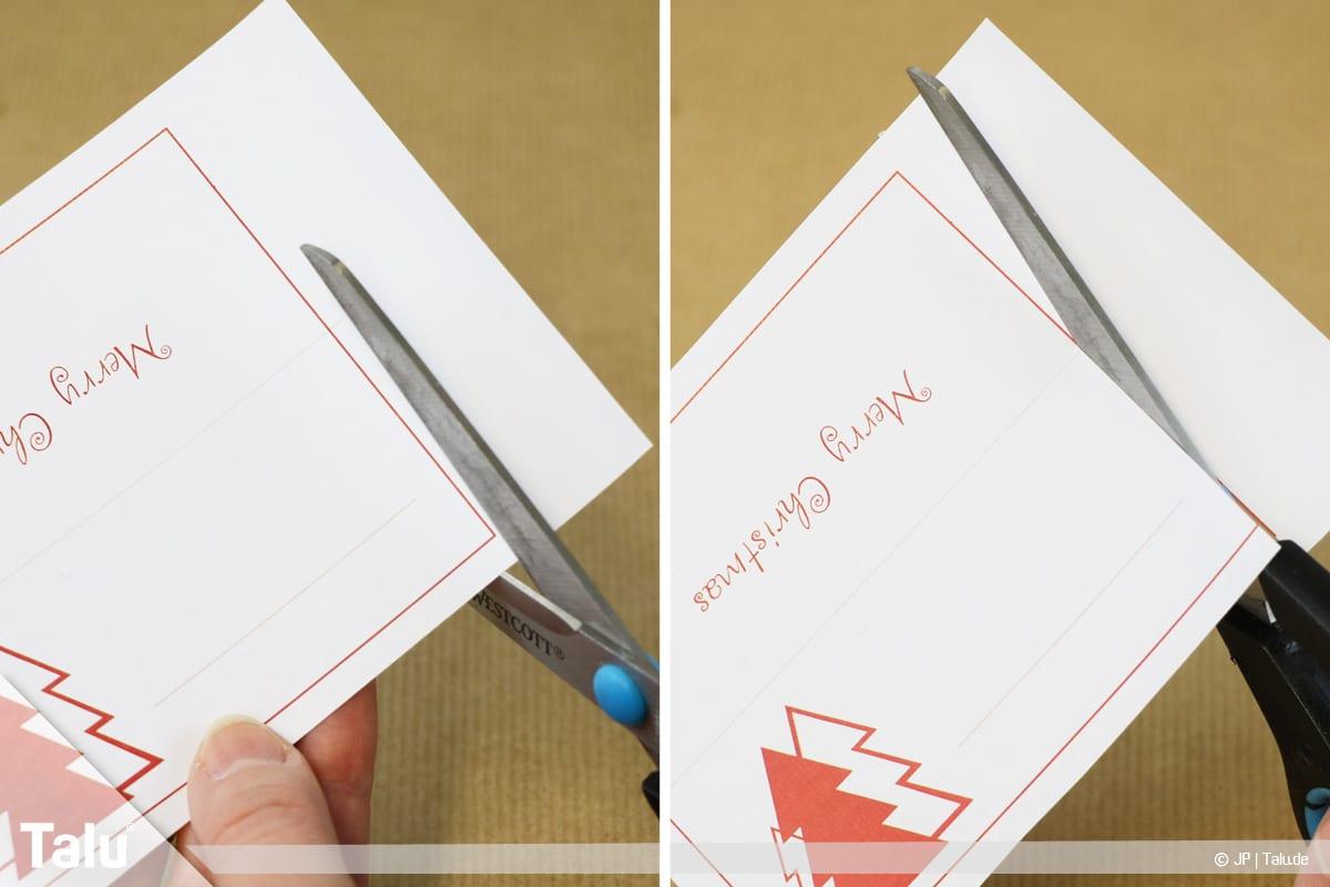 Tischkarten für Weihnachten ausdrucken und beschriften, Vorlagen mit Schere ausschneiden