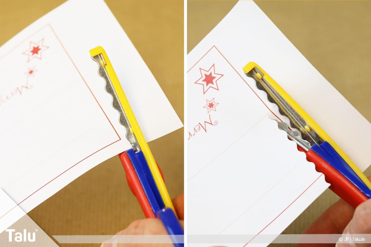 Tischkarten für Weihnachten ausdrucken und beschriften, Vorlagen mit Zackenschere ausschneiden