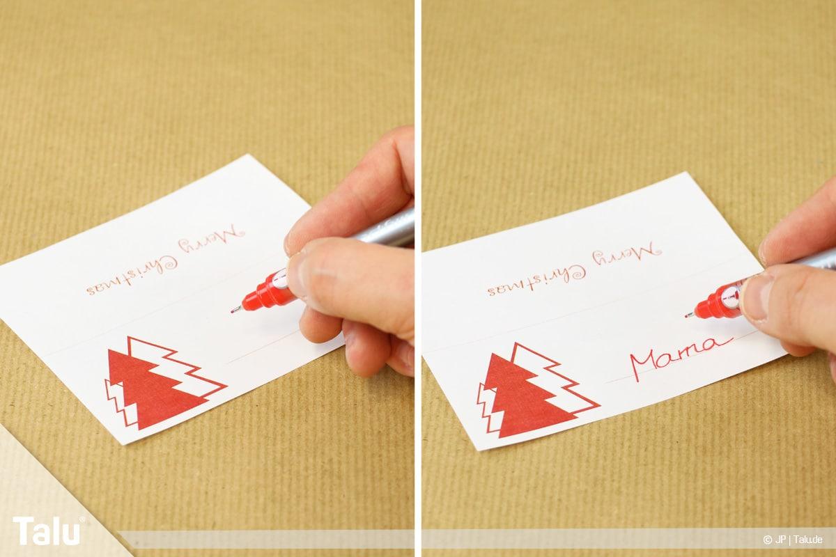 Tischkarten für Weihnachten ausdrucken und beschriften, Tischkarten beschriften