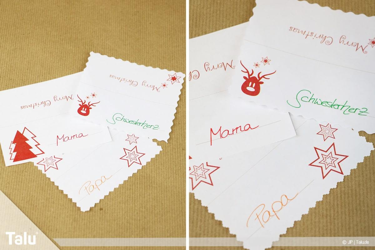 Tischkarten für Weihnachten ausdrucken und beschriften, beschriftete Tischkarten
