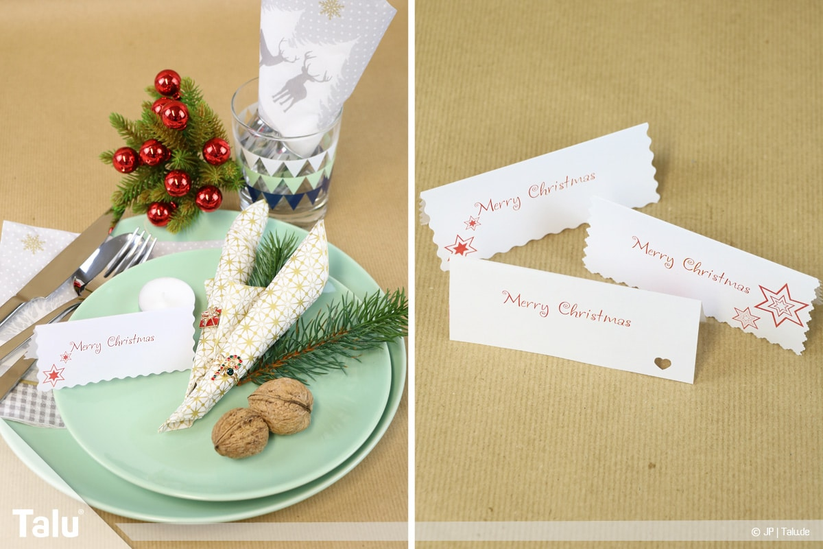 Tischkarten für Weihnachten ausdrucken und beschriften, weihnachtliche Tischkarten