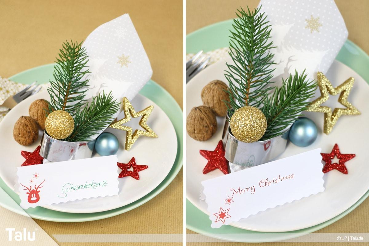 Tischkarten für Weihnachten ausdrucken und beschriften, Tischkarten für die Festtafel