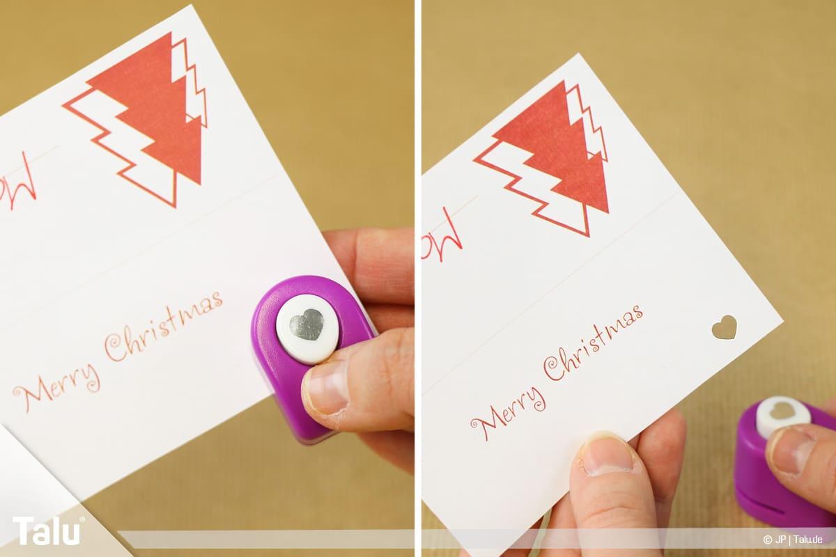 Tischkarten für Weihnachten ausdrucken und beschriften, Motivstanzer zum Verzieren einsetzen