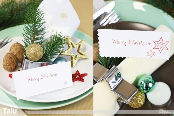 Tischkarten für Weihnachten ausdrucken und beschriften
