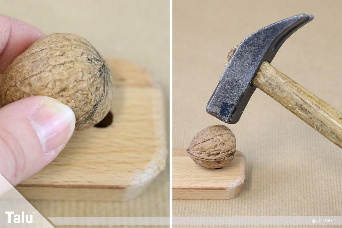 Walnüsse knacken in zwei Hälften, Walnuss mit Hammer öffnen