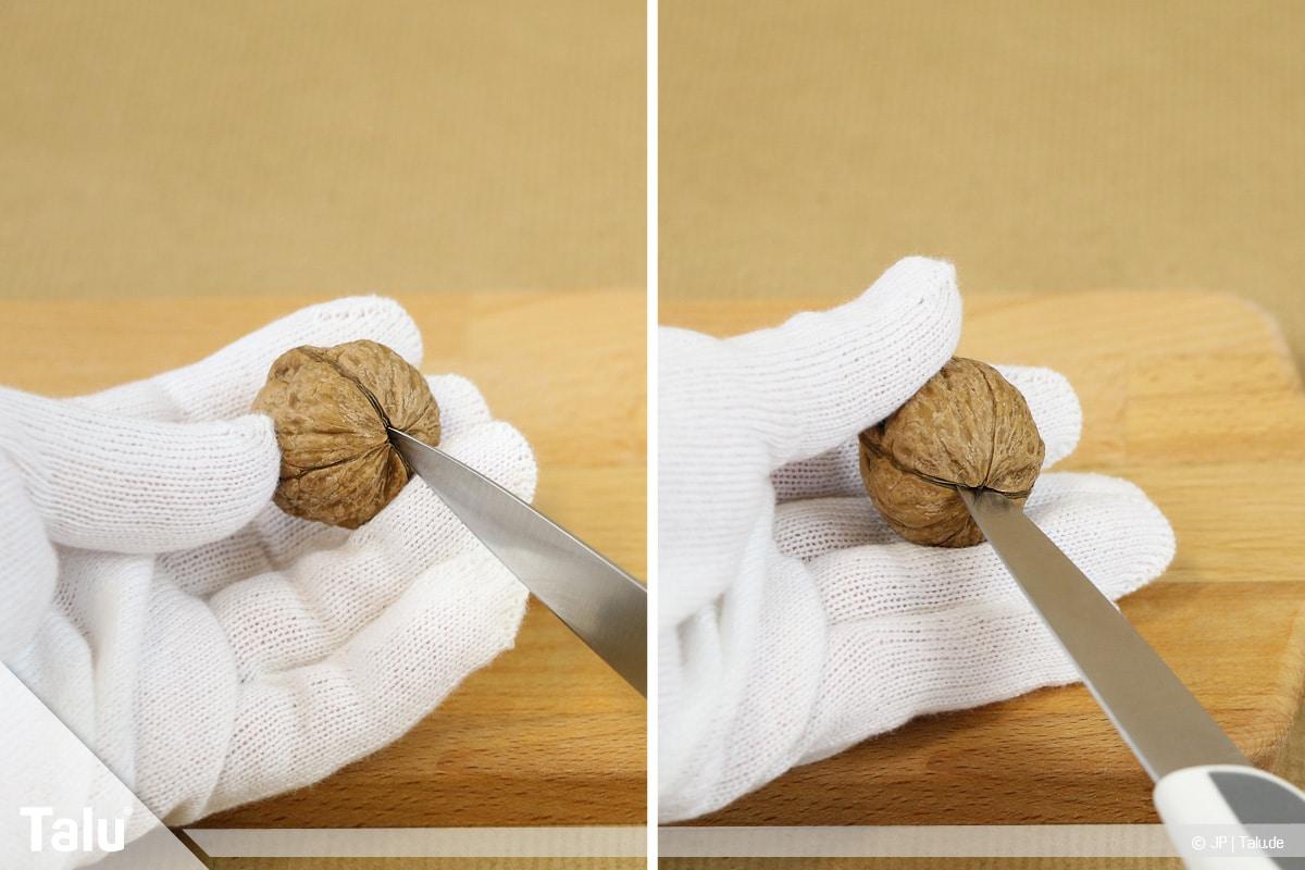 Walnüsse knacken in zwei Hälften, Walnuss mit Messer öffnen