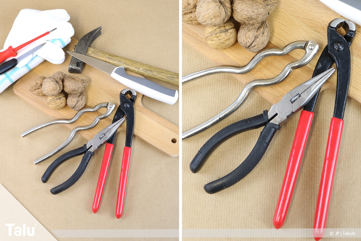 Walnüsse knacken in zwei Hälften, verschiedene Werkzeuge