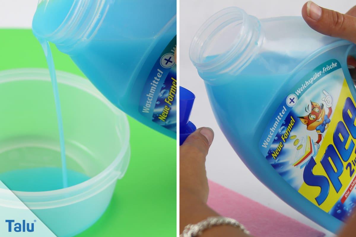 Wasserflecken von Sofa entfernen, Feinwaschmittel