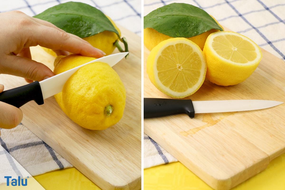 Wasserflecken von Sofa entfernen, frische Zitrone halbieren