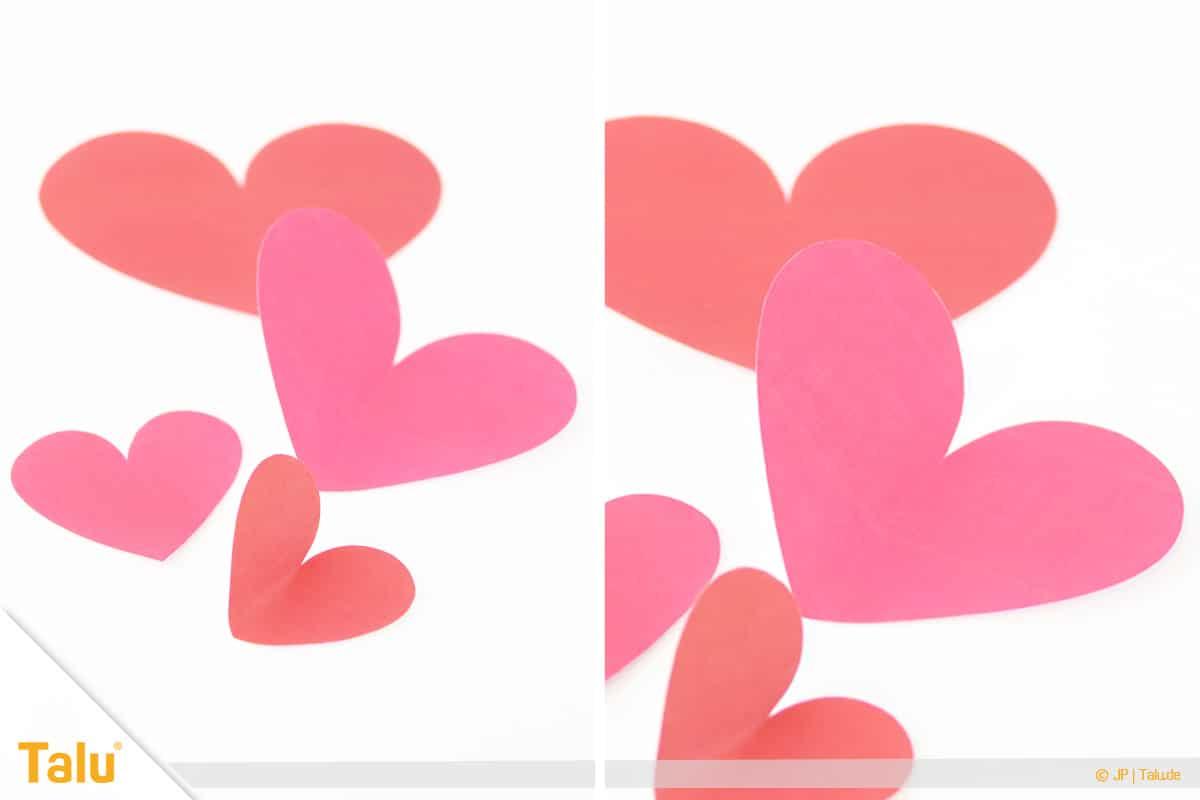 Herz basteln, 3D Herz, Herzformen ausschneiden