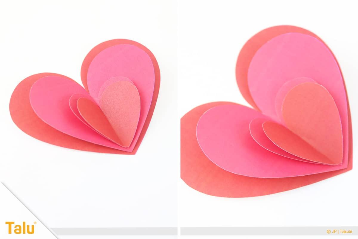 Herz basteln, 3D Herz, Herzformen übereinander kleben