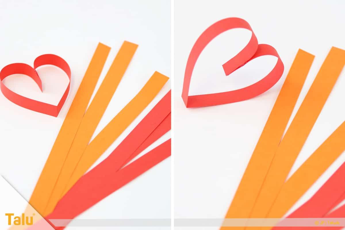 Herz basteln, Herzgirlande, Tonpapierstreifen zuschneiden