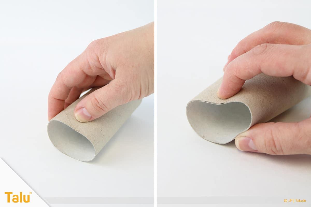 Herz basteln, Herzstempel aus Papprolle, Papprolle formen