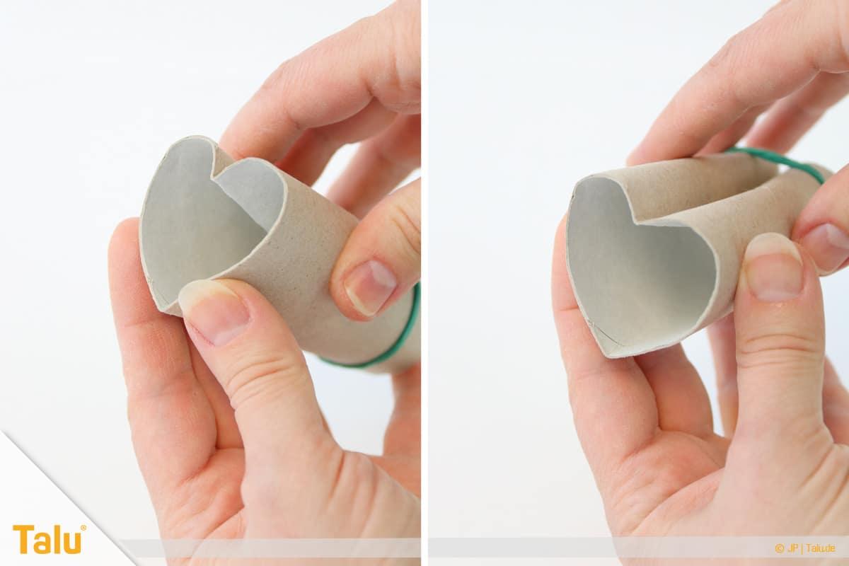Herz basteln, Herzstempel aus Papprolle, Herzform-Variante