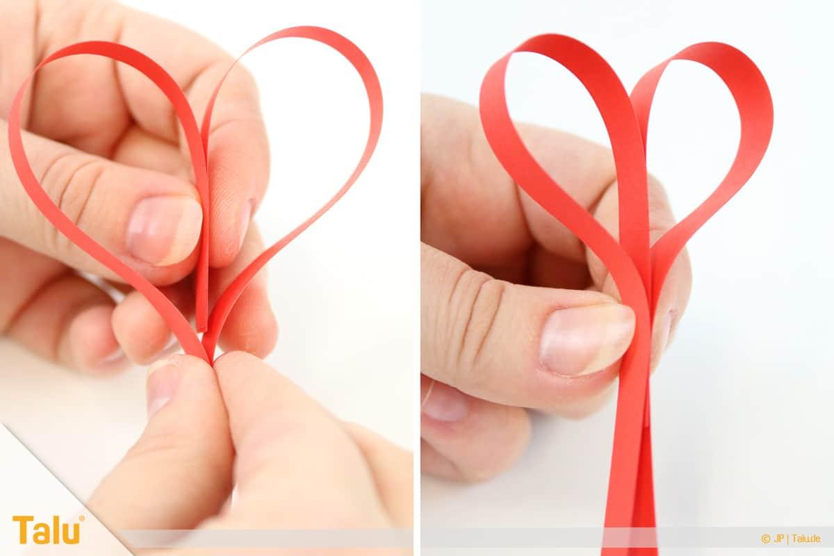 Herz basteln, Herz Tonpapierstreifen, Herz formen
