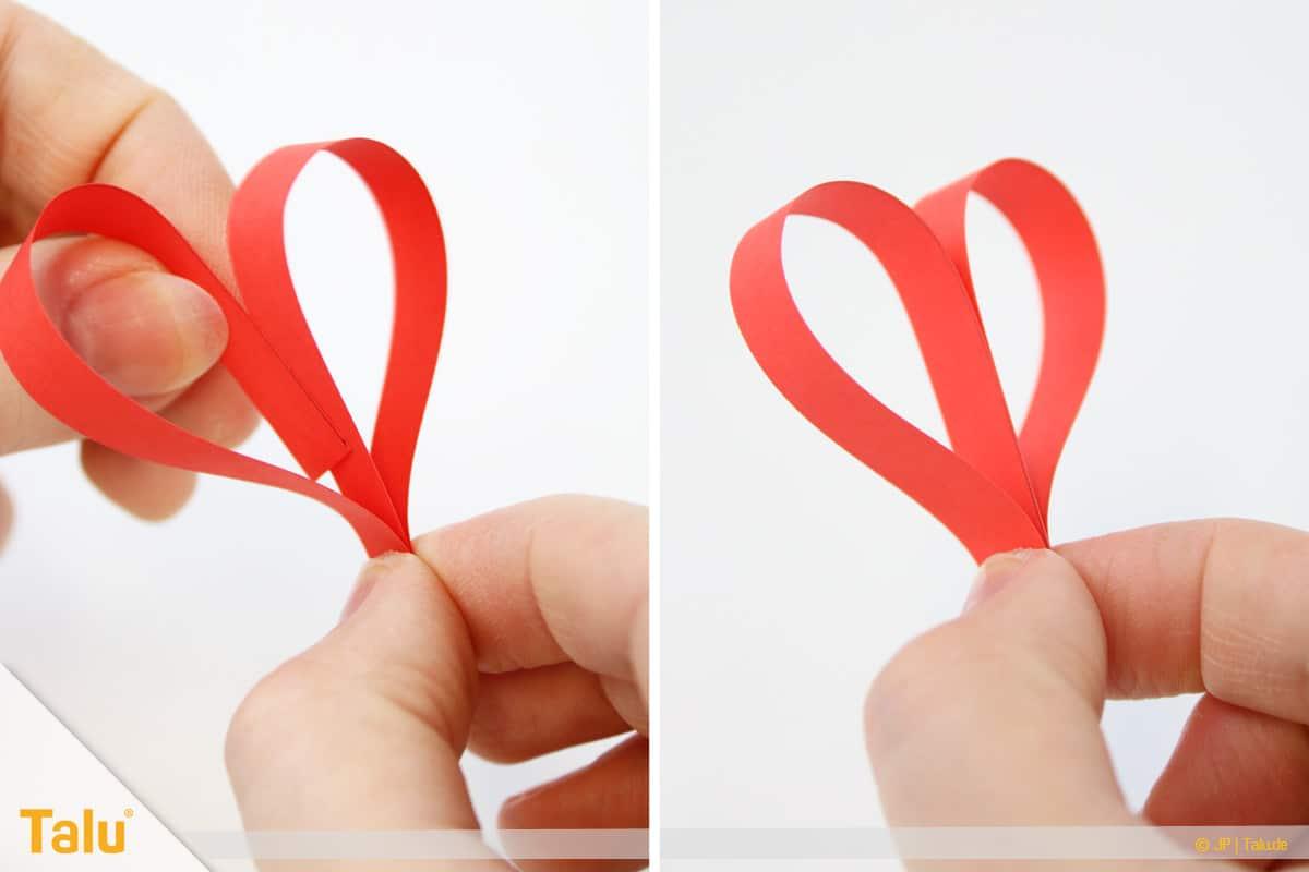 Herz basteln, Herz Tonpapierstreifen, einzelnes Herz formen