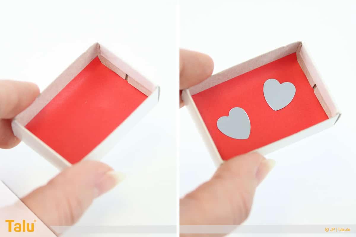 Herz basteln, Herzige Streichholzschachtel, Deko in Schachtel legen