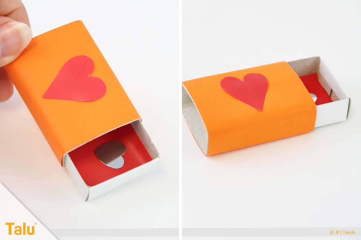 Herz basteln, Herzige Streichholzschachtel, fertige Herzige Streichholzschachtel
