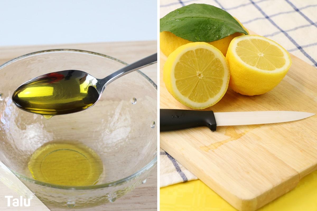 Holz wetterfest machen, mit Olivenöl und Zitronensaft