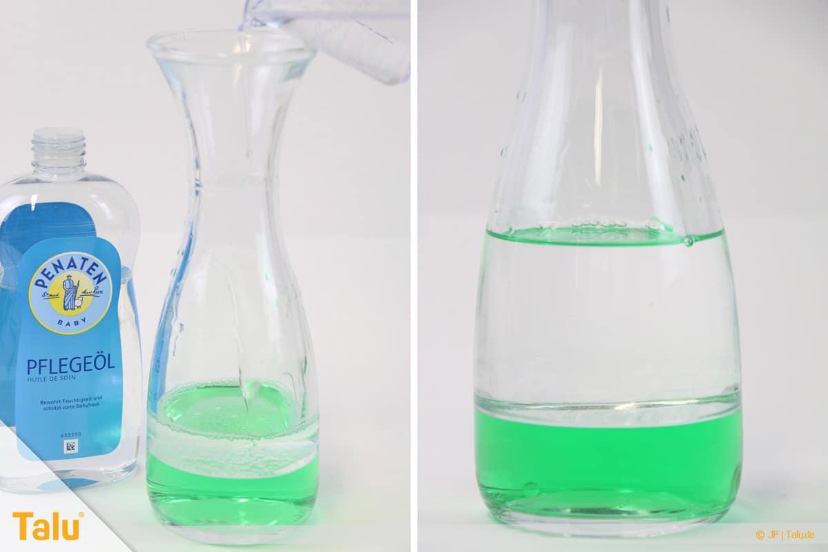Lavalampe selber machen, klares Babyöl dazugeben