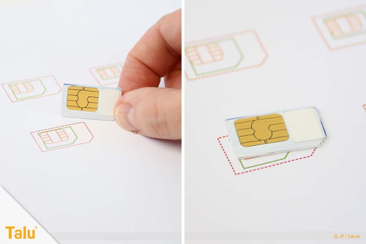 Nano/Micro SIM-Karte zuschneiden, SIM-Karte auf Schablone platzieren