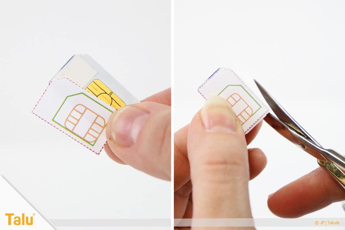 Nano/Micro SIM-Karte zuschneiden, SIM-Karte mit Schablone und kleiner Schere zuschneiden