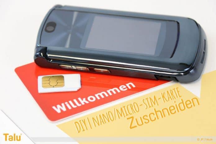 Nano/Micro SIM-Karte zuschneiden, Tutorial und Schablone