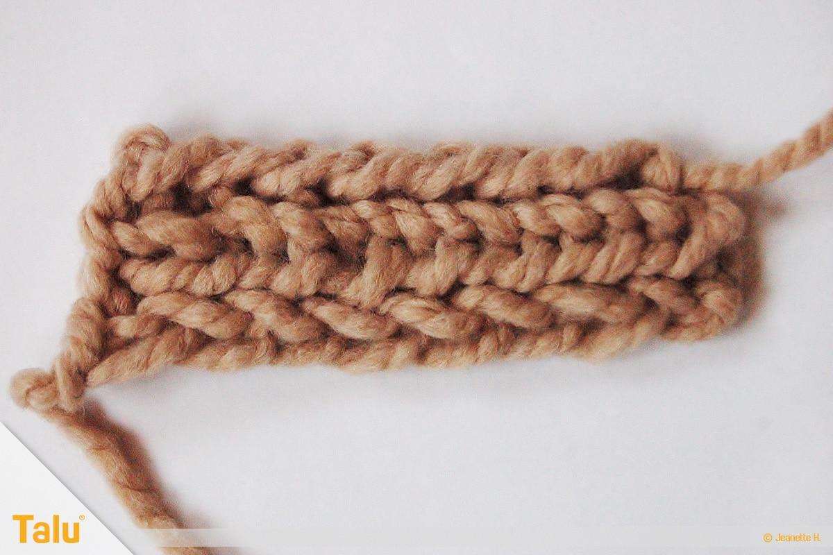 Strickjacke stricken, Gürtelschlaufe