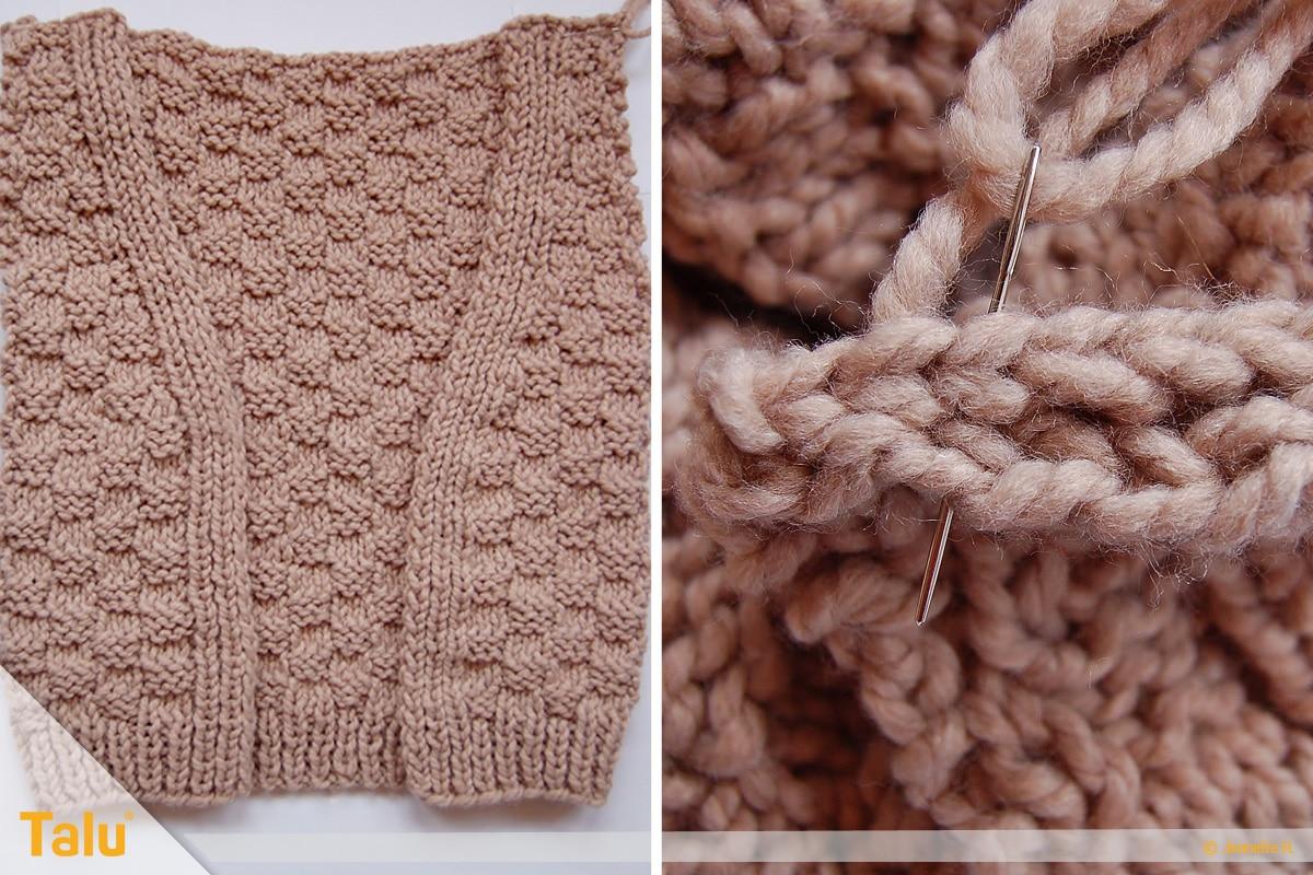 Strickjacke stricken, Teile zusammennähen