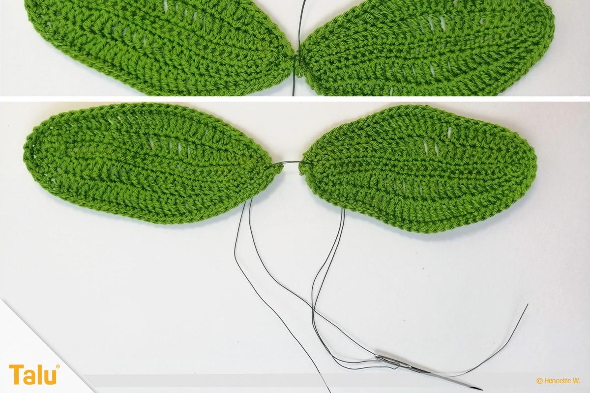 Weihnachtsstern häkeln, grüne Blätter zusammennähen