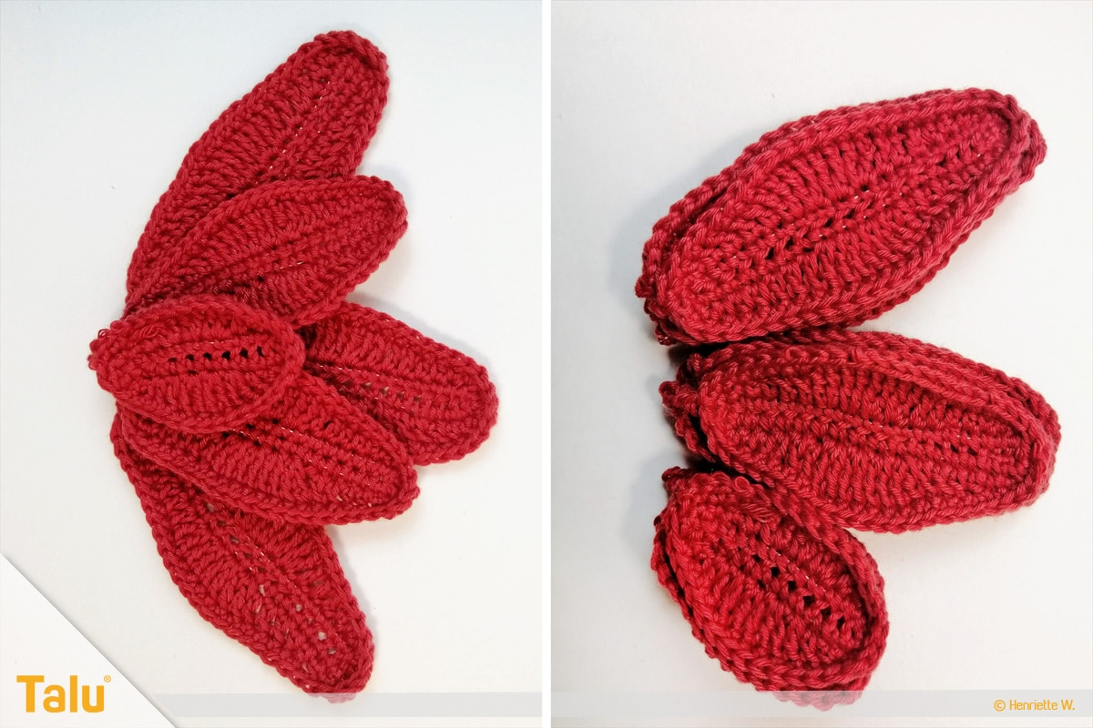 Weihnachtsstern häkeln, gehäkelte rote Blätter